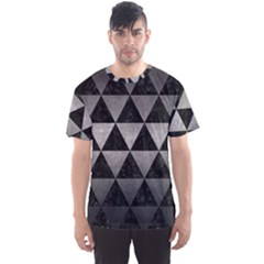 Triangle3 Black Marble & Gray Metal 1 Men s Sports Mesh Tee
