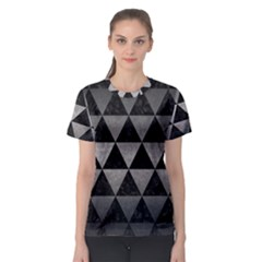 Triangle3 Black Marble & Gray Metal 1 Women s Sport Mesh Tee