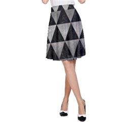 Triangle3 Black Marble & Gray Metal 1 A Line Skirt
