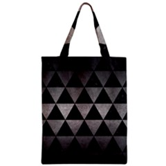 Triangle3 Black Marble & Gray Metal 1 Zipper Classic Tote Bag