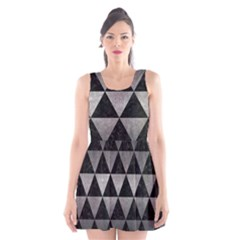 Triangle3 Black Marble & Gray Metal 1 Scoop Neck Skater Dress