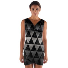 Triangle3 Black Marble & Gray Metal 1 Wrap Front Bodycon Dress