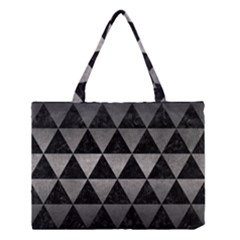 Triangle3 Black Marble & Gray Metal 1 Medium Tote Bag