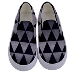 Triangle3 Black Marble & Gray Metal 1 Kids  Canvas Slip Ons
