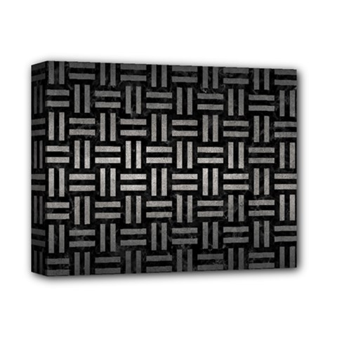 Woven1 Black Marble & Gray Metal 1 Deluxe Canvas 14  X 11