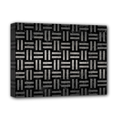 Woven1 Black Marble & Gray Metal 1 Deluxe Canvas 16  X 12