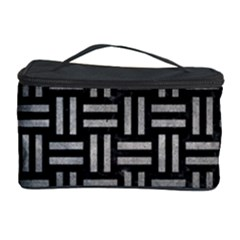 Woven1 Black Marble & Gray Metal 1 Cosmetic Storage Case