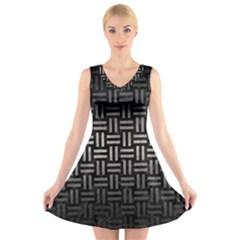 Woven1 Black Marble & Gray Metal 1 V Neck Sleeveless Skater Dress