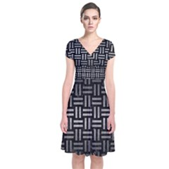 Woven1 Black Marble & Gray Metal 1 Short Sleeve Front Wrap Dress