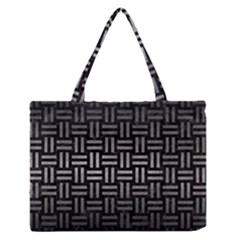 Woven1 Black Marble & Gray Metal 1 Zipper Medium Tote Bag