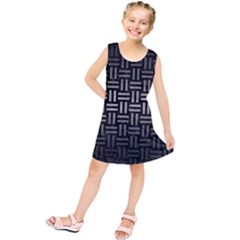 Woven1 Black Marble & Gray Metal 1 Kids  Tunic Dress