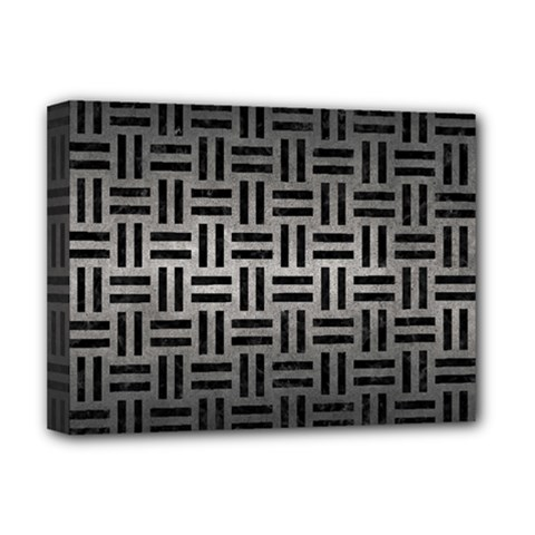 Woven1 Black Marble & Gray Metal 1 (r) Deluxe Canvas 16  X 12