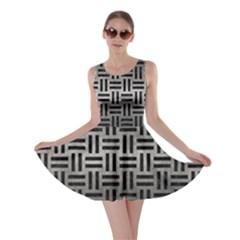 Woven1 Black Marble & Gray Metal 1 (r) Skater Dress