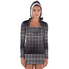 Woven1 Black Marble & Gray Metal 1 (r) Long Sleeve Hooded T Shirt