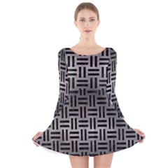 Woven1 Black Marble & Gray Metal 1 (r) Long Sleeve Velvet Skater Dress