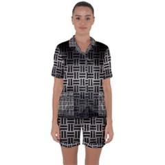 Woven1 Black Marble & Gray Metal 1 (r) Satin Short Sleeve Pyjamas Set