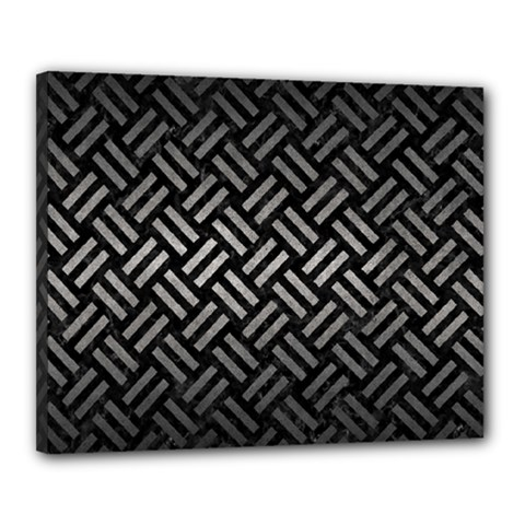 Woven2 Black Marble & Gray Metal 1 Canvas 20  X 16
