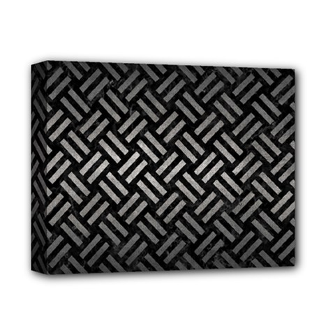 Woven2 Black Marble & Gray Metal 1 Deluxe Canvas 14  X 11
