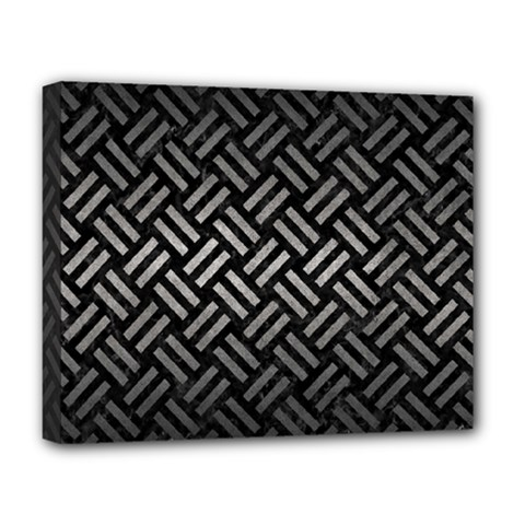 Woven2 Black Marble & Gray Metal 1 Deluxe Canvas 20  X 16
