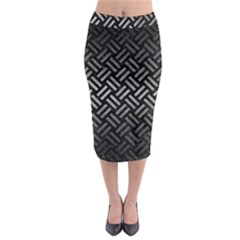 Woven2 Black Marble & Gray Metal 1 Midi Pencil Skirt