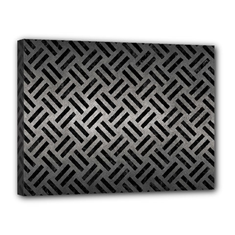 Woven2 Black Marble & Gray Metal 1 (r) Canvas 16  X 12