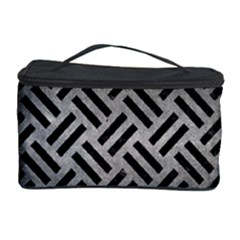 Woven2 Black Marble & Gray Metal 1 (r) Cosmetic Storage Case