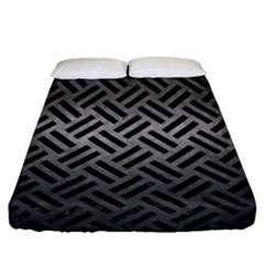Woven2 Black Marble & Gray Metal 1 (r) Fitted Sheet (queen Size)
