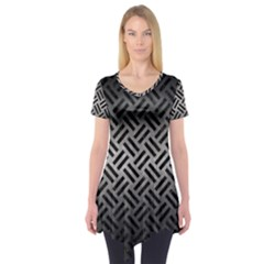 Woven2 Black Marble & Gray Metal 1 (r) Short Sleeve Tunic