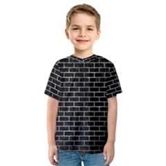 Brick1 Black Marble & Gray Metal 2 Kids  Sport Mesh Tee