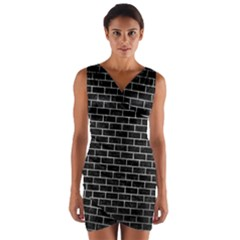 Brick1 Black Marble & Gray Metal 2 Wrap Front Bodycon Dress