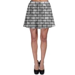 Brick1 Black Marble & Gray Metal 2 (r) Skater Skirt