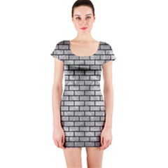 Brick1 Black Marble & Gray Metal 2 (r) Short Sleeve Bodycon Dress