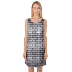 Brick1 Black Marble & Gray Metal 2 (r) Sleeveless Satin Nightdress