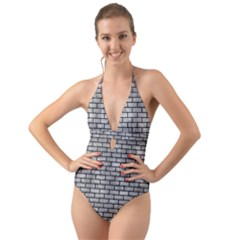 Brick1 Black Marble & Gray Metal 2 (r) Halter Cut Out One Piece Swimsuit