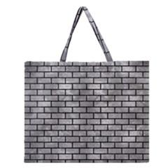 Brick1 Black Marble & Gray Metal 2 (r) Zipper Large Tote Bag