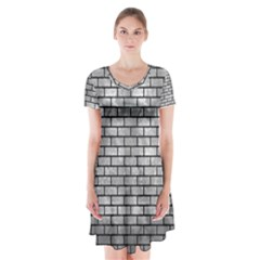 Brick1 Black Marble & Gray Metal 2 (r) Short Sleeve V Neck Flare Dress