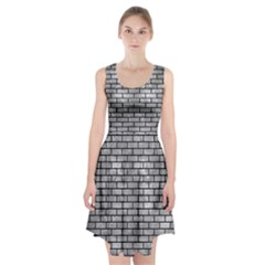 Brick1 Black Marble & Gray Metal 2 (r) Racerback Midi Dress