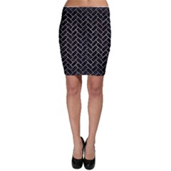 Brick2 Black Marble & Gray Metal 2 Bodycon Skirt