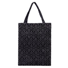 Hexagon1 Black Marble & Gray Leather Classic Tote Bag