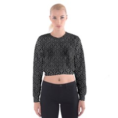 Hexagon1 Black Marble & Gray Leather Cropped Sweatshirt