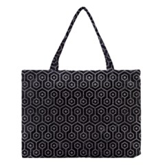 Hexagon1 Black Marble & Gray Leather Medium Tote Bag