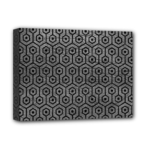 Hexagon1 Black Marble & Gray Leather (r) Deluxe Canvas 16  X 12