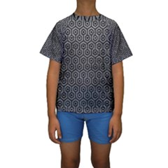 Hexagon1 Black Marble & Gray Leather (r) Kids  Short Sleeve Swimwear