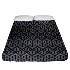 Hexagon1 Black Marble & Gray Leather (r) Fitted Sheet (california King Size)