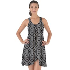 Hexagon1 Black Marble & Gray Leather (r) Show Some Back Chiffon Dress
