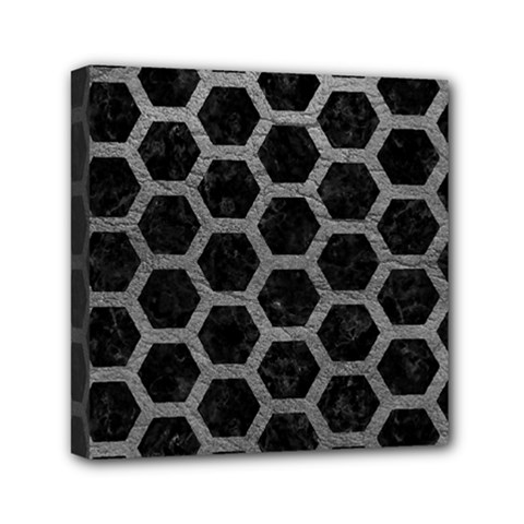 Hexagon2 Black Marble & Gray Leather Mini Canvas 6  X 6