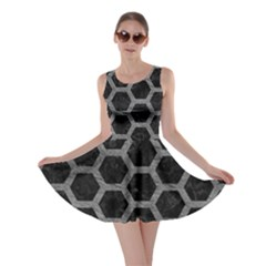 Hexagon2 Black Marble & Gray Leather Skater Dress