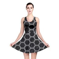 Hexagon2 Black Marble & Gray Leather Reversible Skater Dress