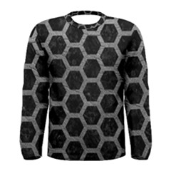 Hexagon2 Black Marble & Gray Leather Men s Long Sleeve Tee