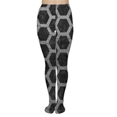 Hexagon2 Black Marble & Gray Leather Women s Tights